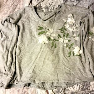 LOFT Floral Embroidered Grey Sweatshirt
